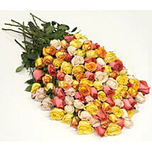 100 Long Stem Assorted Roses: Same Day Flowers to Detroit
