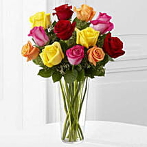 12 Bright Roses Arranged: Valentine's Day Gift Delivery in USA