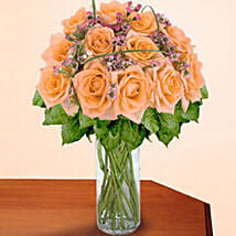 12 Long Stem Peach Roses: Valentine Flowers to USA