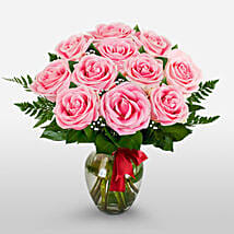 12 Long Stem Pink Roses: Valentine's Day Flowers to USA