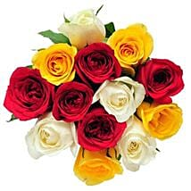 12 Mix Color Roses: Send Flowers to Irving