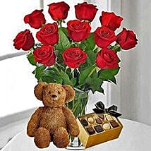 12 Red Roses Chocolates and Bear: Valentine's Day Flowers USA