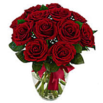 12 stem Red Rose Bouquet: Valentines Day Gifts to Miami