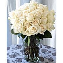 25 Long Stem White Roses: Send Flowers to Detroit