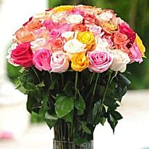 36 Multicolor roses in Vase: Send Flowers to Cary
