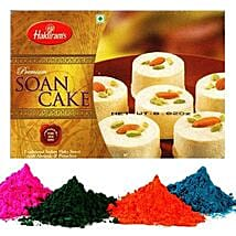4 Shades of Holi Colors with Soan Cake: Sweet Delivery in USA