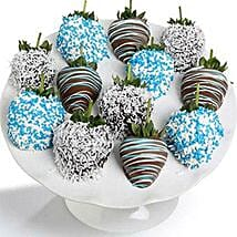 Baby Boy Chocolate Covered Strawberries 12 Pieces: Anniversary Chocolates in USA
