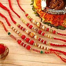 Beautiful Set Of Five Rakhis: Rakhi Delivery in Jersey City