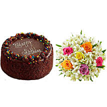 Chocolate Cake with Assorted Rose and Lily Bouquet: Send Cakes to San Francisco