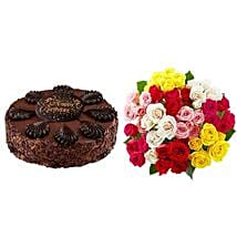 Chocolate Cake with Assorted Roses: Send Gifts for Father to USA