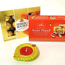 Chocolates, Diya & Soan Papdi Hamper for Diwali: Diwali Gifts to Los Angeles