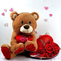 Chocolates N Love Teddy Combo: Valentine Gifts to Stamford