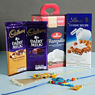 Colorful Rakhis And Chocolates Combo: Family Rakhi Set to USA