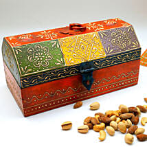 Colorful Wooden Big Box of Mixed Nuts: Diwali Gift Delivery in USA