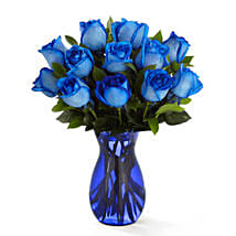 Deep Blue Hue Rose Bouquet: Send Mothers Day Flowers to USA