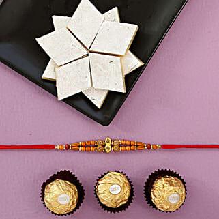 Designer Rakhi With Rocher And Kaju Katli Combo: Send Single Rakhi to USA