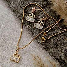 Double Heart Pendant Set: Women's Day Gift Delivery in USA