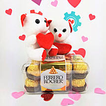 Ferrero Rocher Chocolates N Teddy Combo: Valentine's Day Gifts to Stamford