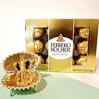 Ferrero Rocher & Golden Shell Ganesha Combo for Diwali: Send Diwali Gifts to USA