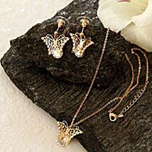 Golden Butterfly Pendant Set: Send Valentine Gifts to Miami