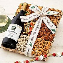 Hobson Estate Chardonnay and Mixed Nuts With Rakhi: Rakhi Gifts for Brother in USA