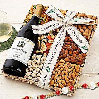 Hobson Estate Chardonnay and Mixed Nuts With Rakhi: Rakhi with Dryfruits to USA