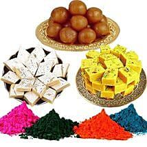 Kaju Barfi with Rasgulla Soan Papdi with Holi Colors: Send Sweets to USA