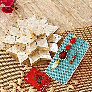 Kaju Katli N Stunning Rakhi: Rakhi With Sweets to USA