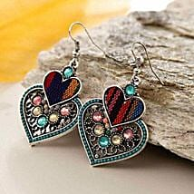 Multicolor Double Heart Earring: Send Valentine Gifts to Chicago