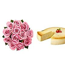 NY Cheescake with Pink Roses: Flowers & Cakes Jersey