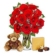 One Dozen Roses with Godiva Chocolates and Bear: Flowers to Irving