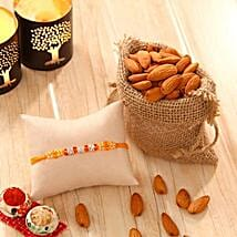 Orange Stone bead Rakhi with Almonds: Rakhi with Dryfruits to USA