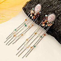 Pink Jhalar Earring: Women's Day Gift Delivery in USA