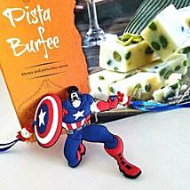 Pista Barfi And Superhero Rakhi: Rakhi With Sweets to USA
