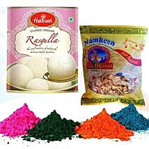 Rasgulla with Namkeen and Holi Colors: Send Sweets to USA
