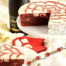 Red Velvet Brownie Cake with rakhi: Send Rakhi to California