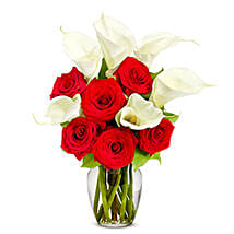 Roses N Lilies Deluxe Arrangement: Valentine's Day Gifts to USA
