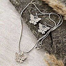 Silver Butterfly Pendant Set: Women's Day Gift Delivery in USA