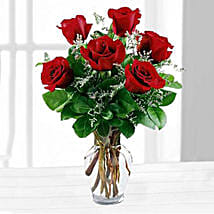 Six Red Roses In A Vase: Birthday Gifts to Omaha