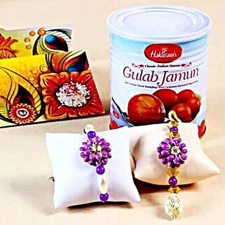 Stunning Rakhis with Gulab Jamuns: Rakhi With Sweets to USA