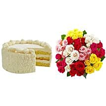 Vanilla Cake with Assorted Roses: Cakes to San Francisco