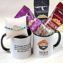 Veera Rakhi with Mug and Nuts: Send Rakhi to New Jersey