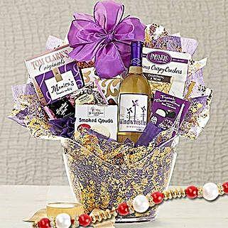 Windwhistle Sweet Moscato Wine Basket With Rakhi: Rakhi - Guaranteed Delivery Collection